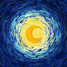 Glowing Bright Yellow Moon On Blue Sky. Vector Illustration In The Style Of Impressionist Paintings.