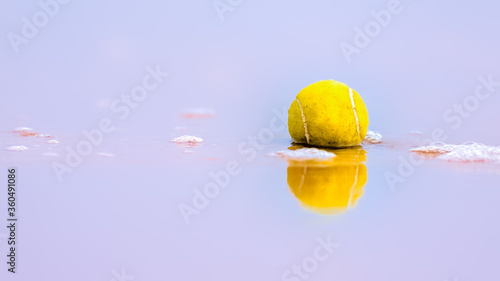 Tennis ball lying in shallow surf with reflections in the water after being wash Canvas Print