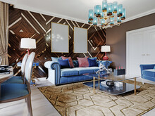 Luxurious Luxury Living Room With Wood Paneling On The Walls With Gold Accents, Blue Furniture, Brown Walls.