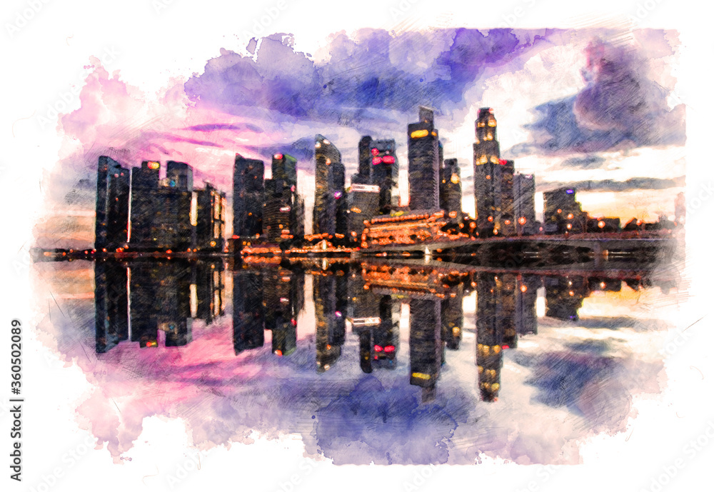 Fototapeta Pencil Drawing Style - Scenic view of evening Singapore reflected in the water