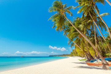 Beautiful landscape of tropical beach on Boracay island, Philippines. Coconut palm trees, sea, sailboat and white sand. Nature view. Summer vacation concept.