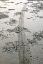 Tire Tracks On Sand And View O...