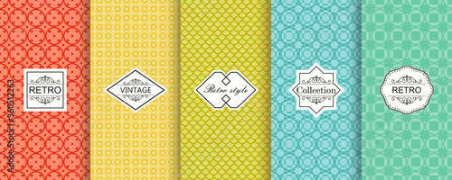 Cuadros en Lienzo Collection of abstract seamless geometric pattern on vibrant background