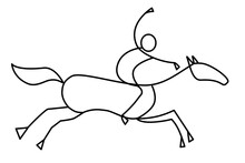 Curved Line Drawing Of Rider As Abstracted Graphic Symbol Of Show Jumping Or Horse Raising Venue