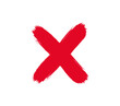Brush stroke red cross.  Vector red cross icon.  Stop icon.  Cancel button.