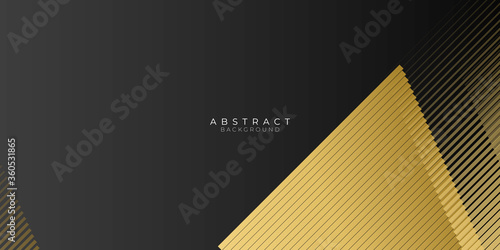 Fotografie, Obraz Black background overlap gold and black sheets lines stripe, modern abstract widescreen background with place for your text or message or presentation slide design
