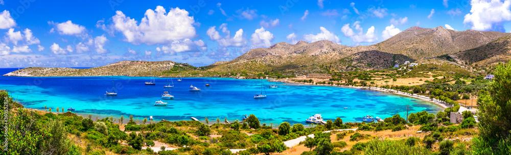 Fototapeta Greece summer holidays. best beaches of Leros island - Agia Kioura beach. Dodecanese