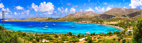 Fototapeta Greece summer holidays. best beaches of Leros island - Agia Kioura beach. Dodecanese obraz