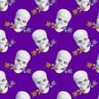 canvas print picture - Contemporary collage. Seamless pattern with white skull with roses in teeth on a purple background.