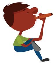 Boy Smoking Cuban Cigar, Illus...