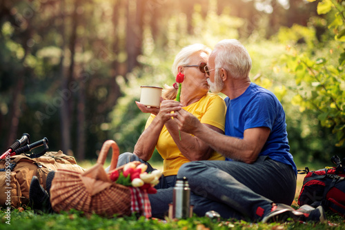 Fototapeta Portrait of happy senior couple in nature obraz
