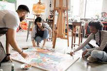 Artists Painting On Art Studio...