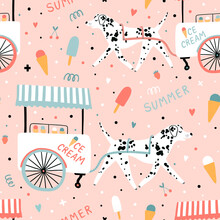 Seamless Cartoon Pattern With Cute Dalmatian Dog   And Ice Cream Truck On Pink Background. Funny Kids Background.