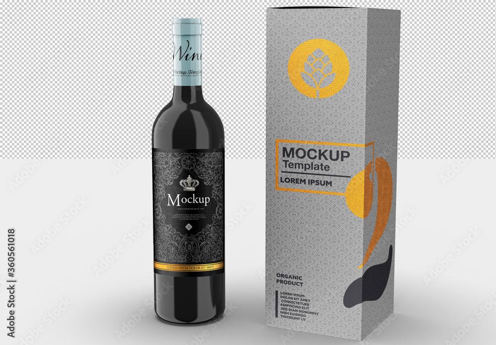 Fototapeta Wine Bottle and Box Mockup