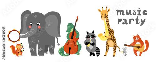 Obraz na plátně Vector music cartoon animals musicians playing musical instruments