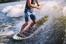 Active Wakesurfer Jumping On W...