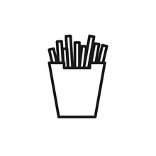 French Fries Line Icon, Vector...