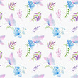 Seamless watercolor pattern with flowers, greenery and butterfly. Hand-painted background of freesia, fern, butterfly for textile, postcard, invitation. Hand drawn watercolor ornament.