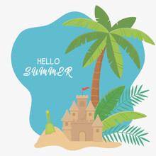 Summer Travel And Vacation Sand Castle Shovel Palm Tree Sand Beach