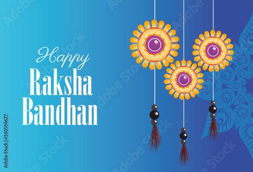 фотография happy raksha bandhan celebration with floral decorations hanging
