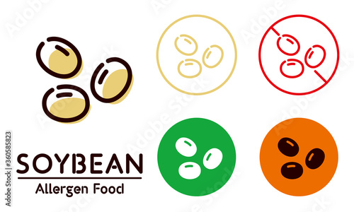 Soybean icon / food allergy, allergen Canvas Print
