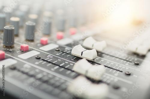 Obraz na plátně Audio adjustment button equipment to recording studio
