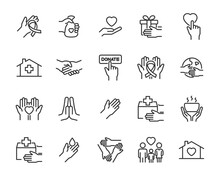 Set Of Charity Icons, Donation...