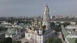 Kyiv. Ukraine: Aerial view of Kyiv Pechersk Lavra. Gray, flat