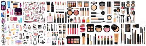 Valokuva Big set of different realistic packages for decorative cosmetics