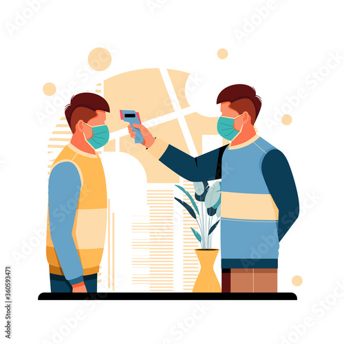 Fototapety, obrazy: portrait of men check body temperature, flat design concept. vector illustration