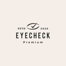 Eye Check Hipster Vintage Logo Vector Icon Illustration