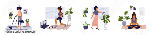 Fotografia Set of lifestyle vector illustrations of home activities young woman in apartment