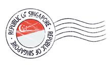 Singapore Grunge Postal Stamp