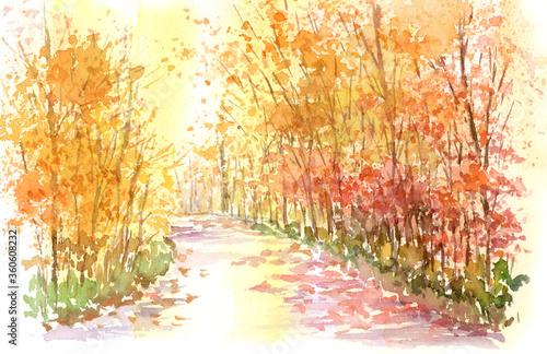 秋の遊歩道 水彩画 Canvas Print