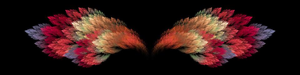 Panel Szklany Do sypialni Colorful volcano bird wings on black background