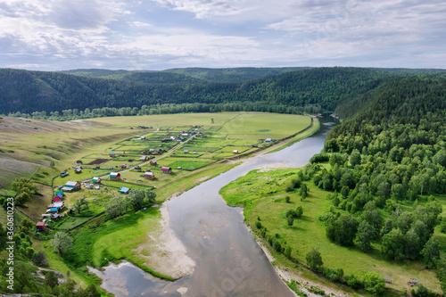 Fototapeta Ural landscape. Aerial view of Belaya river and Ishdavletovo village. Bashkiria national park, Bashkortostan, Russia. obraz