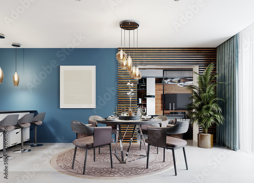 Fototapeta Designer round dining table with four chairs and a chandelier above the table in the interior of a modern kitchen. obraz
