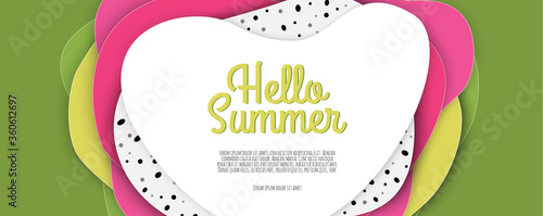 Summer sale banner design with paper cut dragon fruits.