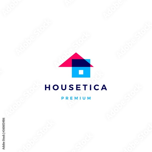 Cuadros en Lienzo house home mortgage roof architect logo vector icon illustration