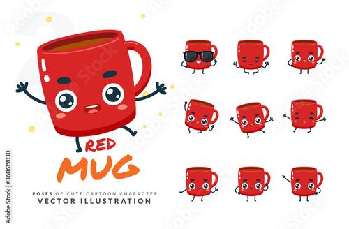 Fototapeta Vector set of cartoon images of Red Mug. Part 2 obraz na płótnie