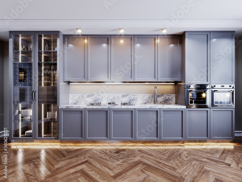 Valokuvatapetti Front view of fashionable kitchen furniture with built-in appliances and sideboard with utensils