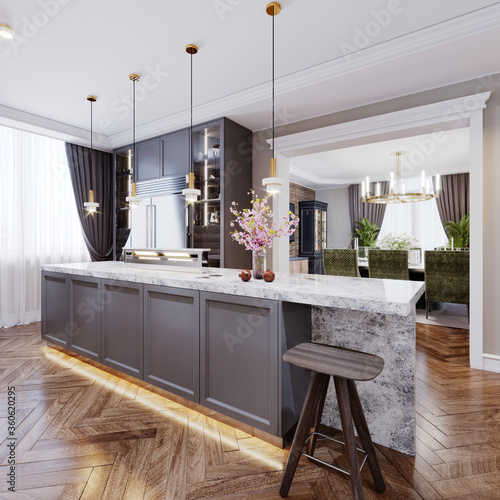 A modern kitchen island made of wooden panels with a chamfer of gray color, with a white marble countertop and two bar stools Canvas-taulu