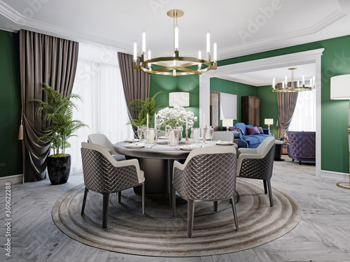 Luxurious dining room in a large house, with a round table for six people Fototapet