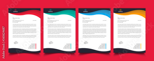 Fototapeta Creative professional corporate modern business style letterhead templates Simple design in minimalist style vector design illustration. color red green blue yellow  obraz