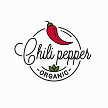 Chili Pepper Logo. Round Linear Logo Of Chile