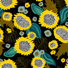 Vector Abstract Sunflower Seam...