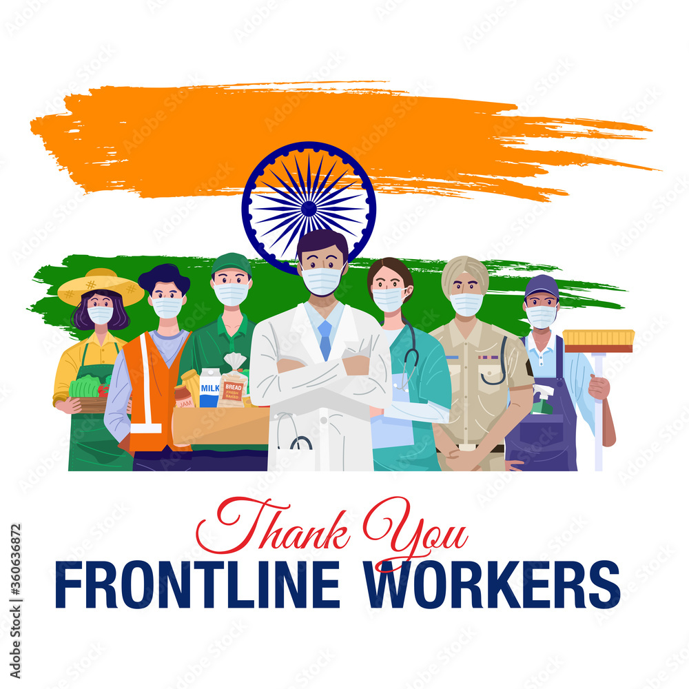 Fototapeta Thank you frontline workers. Various occupations people standing with flag of India. Vector