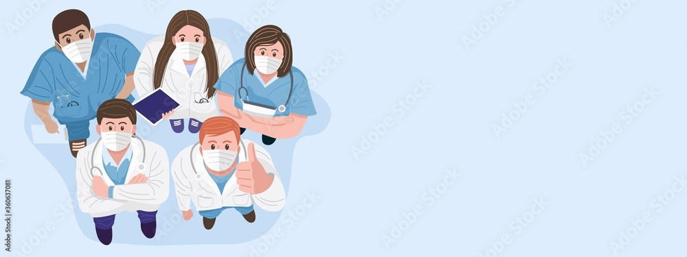 Fototapeta Thank you doctors and nurses concept. Top view of medical teams wearing masks and standing looking up at camera. Vector