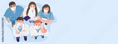 Fototapeta Thank you doctors and nurses concept. Top view of medical teams wearing masks and standing looking up at camera. Vector obraz