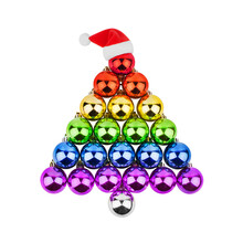 Christmas Decorations Glass Balls LGBTQ Community Rainbow Flag Color In Shape Of Fir Tree, Red Santa Claus Hat White Background Isolated Closeup, LGBT Pride Symbol, Gay, Lesbian New Year Holidays Sign